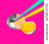 Disco Ball Egg With Rainbow On ...