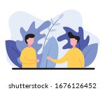 someone greets someone else ... | Shutterstock .eps vector #1676126452