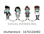 covid 19 and social distancing... | Shutterstock .eps vector #1676126482