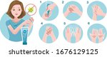 use alcohol gel to wash hands....   Shutterstock .eps vector #1676129125