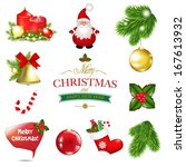 christmas big set  with... | Shutterstock .eps vector #167613932