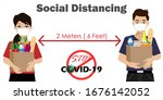 social distancing.man and woman ... | Shutterstock .eps vector #1676142052