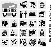 logistics vector icon set on... | Shutterstock .eps vector #167614262