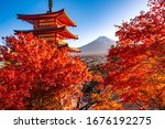 Japan. Kawaguchiko. Fuji, pagoda and Japanese maples. Landscape of Japan in red. Business card of Japan. Chureito Pagoda among red Japanese maples. Japanese architecture. The religion of Shinto.