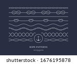 set of nautical rope seamless... | Shutterstock .eps vector #1676195878
