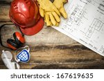 protective clothing with plans | Shutterstock . vector #167619635