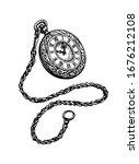 pocket watch. ink sketch... | Shutterstock .eps vector #1676212108