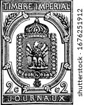France Newspaper Stamp (2 centimes) from 1868, an adhesive piece of paper stuck to something to show an amount of money paid, mainly a postage stamp, vintage line drawing or engraving illustration.