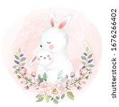 cute rabbit motherhood... | Shutterstock .eps vector #1676266402