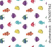 seamless pattern colored... | Shutterstock .eps vector #1676307562