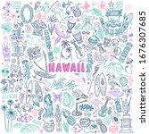 Hawaii Doodle Set. Traditional...