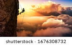 Silhouette Rappelling From...