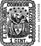 Colombian Republic Stamp (1 centavo) from 1865, a small adhesive piece of paper was stuck to something to show an amount of money paid, vintage line drawing or engraving illustration.