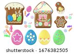 set of easter sweets cookies ... | Shutterstock .eps vector #1676382505
