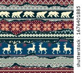 nordic style knitted jacquard... | Shutterstock .eps vector #1676401885