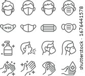 Mask protection virus icon set vector illustration. Contains such icon as clean, sneeze, mask, hand washing, hand sanitizer and more. Expanded Stroke
