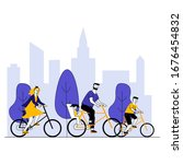 parents and kids riding... | Shutterstock .eps vector #1676454832