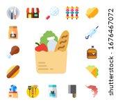 meat icon set. 17 flat meat...   Shutterstock .eps vector #1676467072