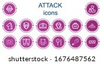 editable 14 attack icons for... | Shutterstock .eps vector #1676487562