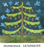 Big Tree  Moonlight Night ...