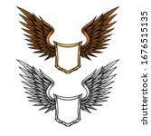 shield with wings clip art set. ... | Shutterstock .eps vector #1676515135