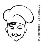 french chef logo in toque hat... | Shutterstock .eps vector #167656172