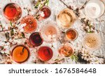 Various shades of rose wine....