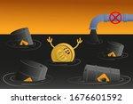 euro sinks in petroleum. coin... | Shutterstock .eps vector #1676601592