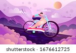 young athletic man riding a two ... | Shutterstock .eps vector #1676612725