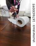 Toilet Paper Dropped On Floor...