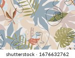 muted  beige and brown seamless ...   Shutterstock .eps vector #1676632762
