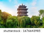 Ancient architectural landscape of Daming Lake Park in Jinan