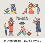a mother who is struggling with ... | Shutterstock .eps vector #1676649412