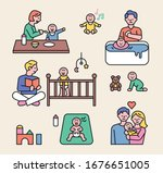 dad and mom are raising their... | Shutterstock .eps vector #1676651005