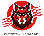 Head Of Red Wolf With Claws...