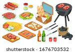 isometric barbecue food  bbq...   Shutterstock .eps vector #1676703532