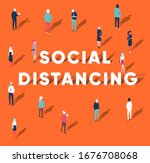 social distancing concept... | Shutterstock .eps vector #1676708068