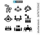 meeting icon or logo isolated... | Shutterstock .eps vector #1676713162