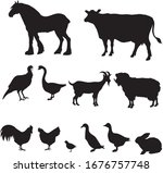 farm animal lifestock black  ... | Shutterstock .eps vector #1676757748