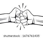 hand drawn of two fists bumping ...   Shutterstock .eps vector #1676761435