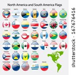 american continent flags | Shutterstock .eps vector #167676416
