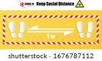 social distance 1 meter for... | Shutterstock .eps vector #1676787112