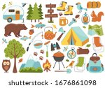 camping and hiking set  hand... | Shutterstock .eps vector #1676861098