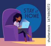 stay at home awareness social... | Shutterstock .eps vector #1676863072