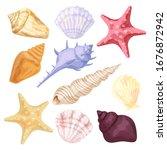 seashells and starfish.... | Shutterstock .eps vector #1676872942