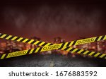 a city closed under quarantine... | Shutterstock . vector #1676883592