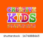 vector funny logo creative kids.... | Shutterstock .eps vector #1676888665