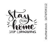 stay home. stop coronavirus.... | Shutterstock .eps vector #1676934112