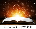 old open book with magic light... | Shutterstock . vector #167694956