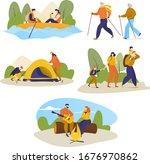 man  women  children hiking...   Shutterstock .eps vector #1676970862